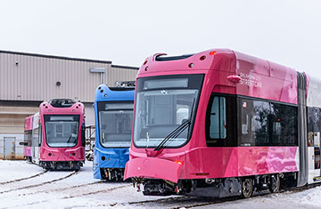 Three Oklahoma City Liberty Streetcars at BROOKVILLE's Manufacturing Facility in Feb 2018